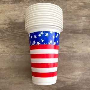 American Flag 10 Red Plastic Party Cups 4th July